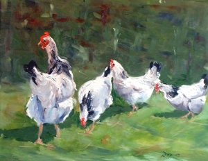 painting of chickens. roy munday's art classes on Merseyside. Beginners art classes