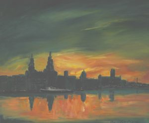 oil painting by artist roy munday of sunrise, liverpool waterfront, river mersey