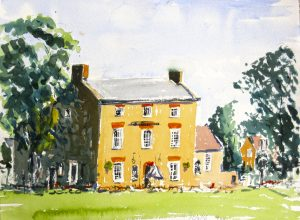 watercolour painting by roy munday, of the bell inn at frampton-on-severan, gloucestershire
