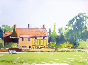 watercolour of 2 cottages, frampton-on-severn, gloucestershire by artist roy munday
