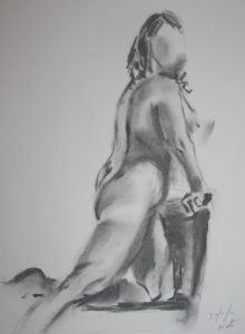 charcoal study of female nude, done in the life class for beginners, merseyside