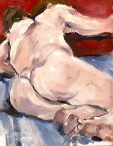 oil painting of femaile nude, painted in the life class, liverpool, merseyside