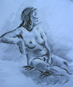 life drawing class for beginners, charcoal drawing of female nude. life class on merseyside