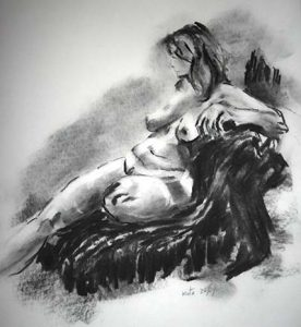 life drawing class, nude done in charcoal in life class on merseyside