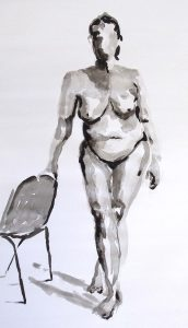 beginners life drawing class, drawing done from the female nude in pen and ink, liverpool, merseyside