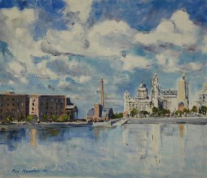 oil painting of the liver buildings, liverpool by artist roy munday, teacher of art classes, merseyside