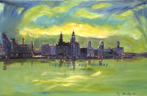 art classes,merseyside, painiting by roy munday, sunrise liverpool waterfront, merseyside