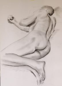 life drawing class, liverpool, southport and merseyside, done in charcoal