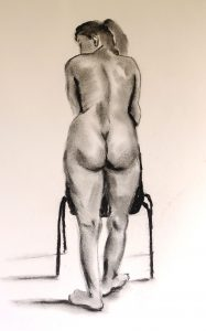 beginners life drawing class, drawing done in charcoal of female model, liverpool