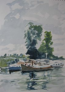beginners watercolour class, merseyside, painting done by roy munday of saul junction, gloucestershire