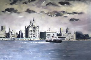 painting by roy munday, liverpool waterfront including one of the mersey ferries