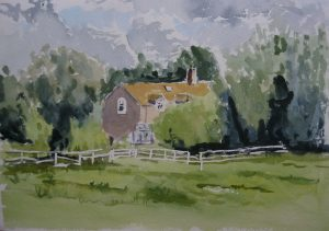 watercolour beginners art class, painting done by roy munday, wick court cottages gloucestershire