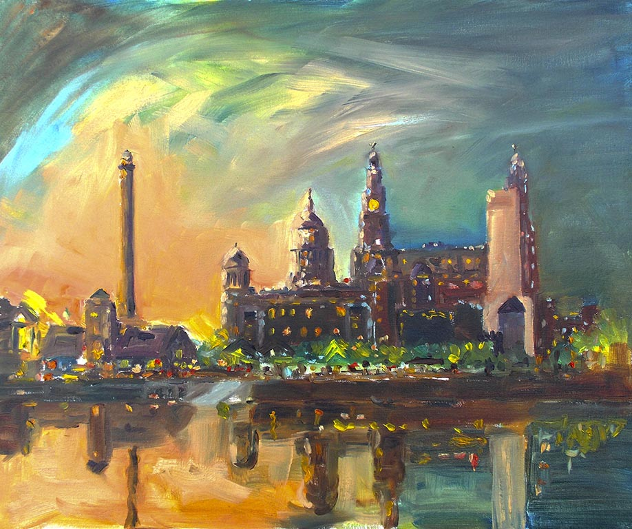 art classes for beginners, merseyside, painting of the three graces at sunset, liverpool