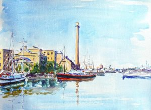 watercolour by artist roy munday of the salthouse dock, liverpool, merseyside