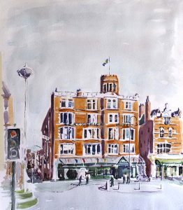 artist roy munday, watercolour of the scarisbrick hotel, lord street, southport, merseyside