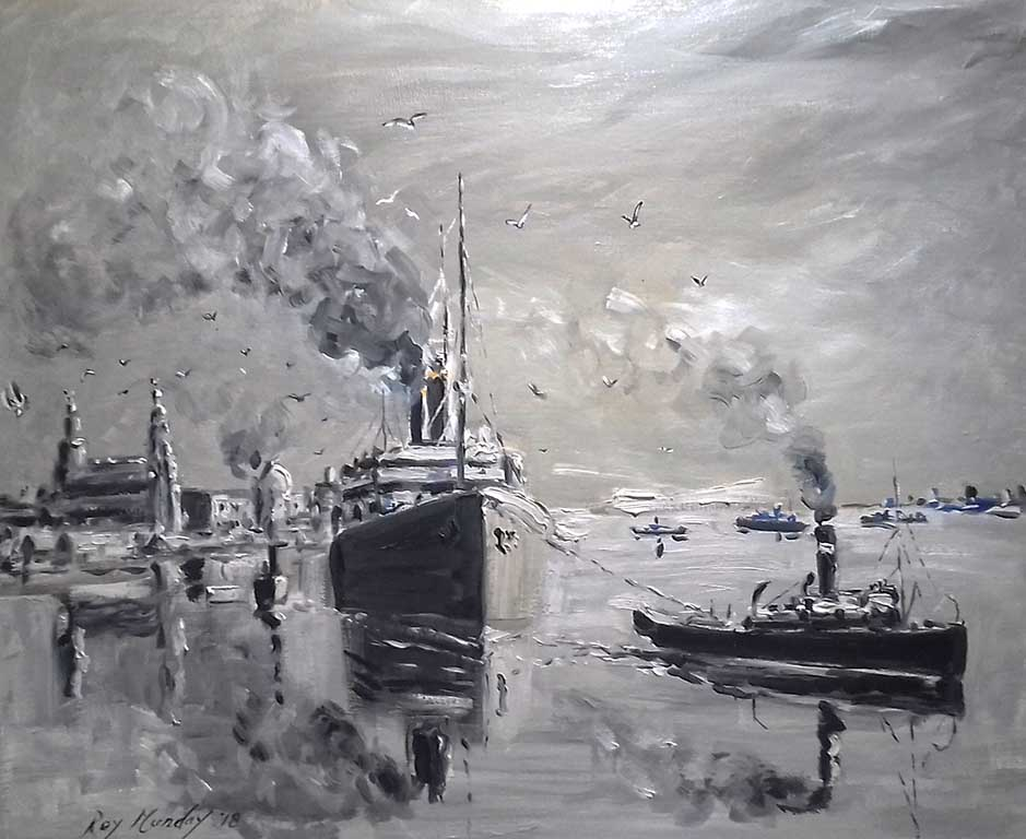 art classes, beginners. ship leaving liverpool, merseyside