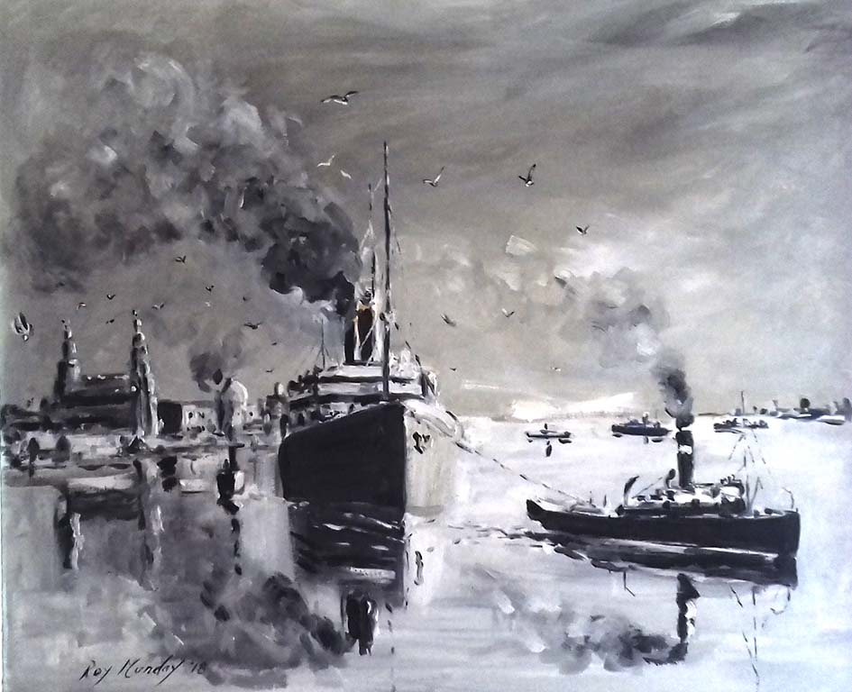 art class on merseyside, artist roy munday, painting of ship leaving the river mersey in the 1950's