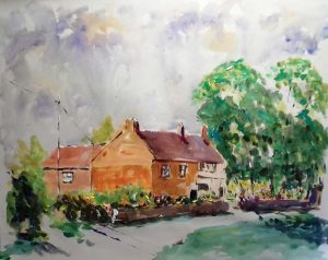 roy munday, artist, acrylic painting, watercolour, cottasges at frampton-on-severn, gloucestershire