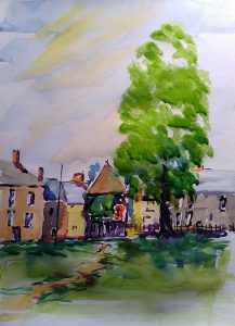 frampton on severn, wtercolur by artist roy munday, watercolour classes, near me, southport, liverpool, merseyside