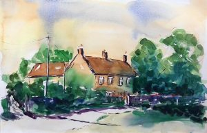 watercolour, cottages at frampton-on-severn, gloucestershire, by art teachere artist roy munday, art classes, merseyside