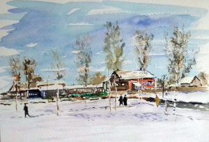watercolour by artist roy munday, title, Winter, near Moscow. art classes, near me, merseyside, southport
