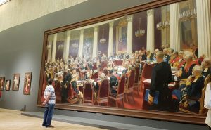 Repin's massive painting at an exhibition in Moscow, commemorating his work. art classes on merseyside for beginners, watercolours, oils, acrylics