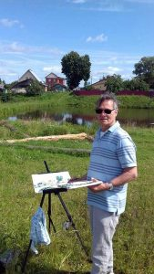 artist roy munday painting in the russian countrside. teaches watercolours to beginners, in liverpool, preston, ormskirk, lancashire and merseyside