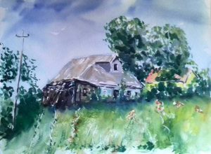 watercolour painting, russian village, old house. Artist roy munday, teacher of watercolours, liverpool, merseyside, crosby, formby, ormskirk, lancashire