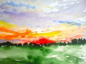 watercolour of a sunset in russia, by artist roy munday, teacher of art classes in liverpool, uk, southport, ormskirk, preston, lancashire, kirkby