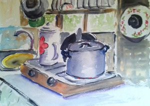 watercolour sketch of kitchen, russian dacha, artist roy munday, art classes for begkinners on merseyside