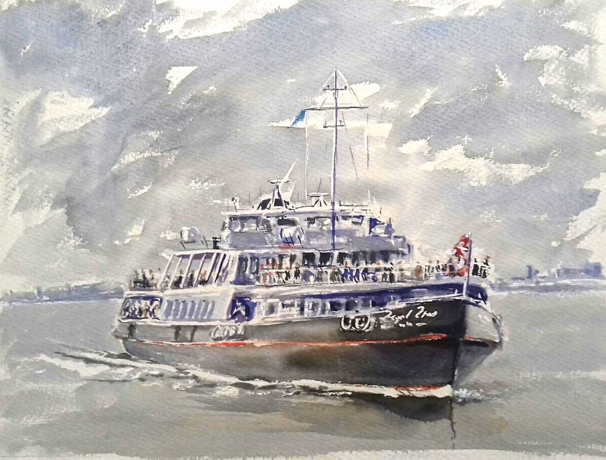 ferry across the river mersey by artist roy munday. Runs art classes on merseyside