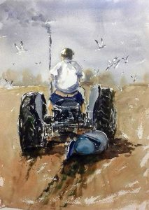 artclass, merseyside, liverpool. watercolour of man on tractor, ploughing field