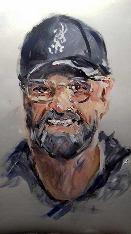 expressive painting of liverpool football manager, Jurgen Klopp, done by artist roy munday, runs art classes on merseyside