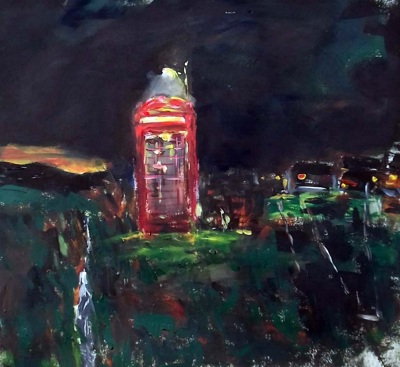painting of an old red telephone box, uk, in isolated area. Painted by artist roy munday, runs art courses for beginners on merseyside, liverpool and Southport