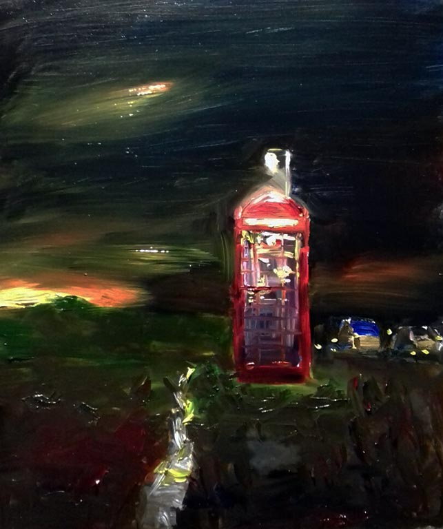oil painting of old red telephone box. by artist roy munday. Teaches art on Merseyside.
