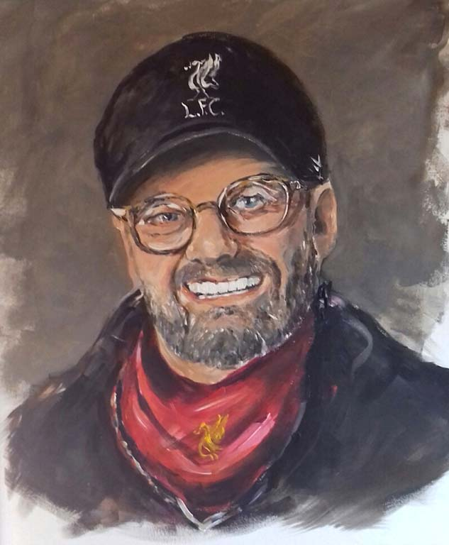 Produced this recent portrait of Liverpool's manager, Jurgen Klopp, for an up-coming art exhibition at the Atkinson art gallery, Southport, Merseyside by artist roy munday
