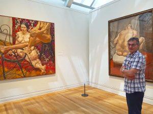artist roy munday at the metropolitan art gallery, new york